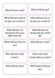 Conversation Cards - Talking about holidays - First day of class ice breaker
