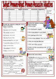 English Worksheet: Subject Pronouns,Object Pronouns,Possessive Adjectives
