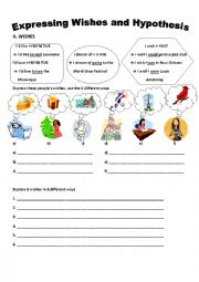 English Worksheet: EXPRESSING WISHES AND HYPOTHESIS
