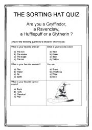 photograph relating to Printable Sorting Hat Quiz known as THE SORTING HAT QUIZ - ESL worksheet as a result of dudette
