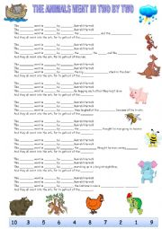English Worksheet: The animals went in two by two