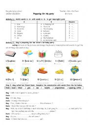 English Worksheet: PREPARING FOR THE PARTY