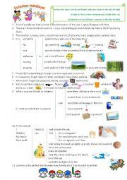 English Worksheet: Summer Holidays