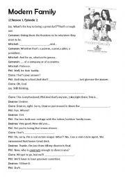 English Worksheet: Modern Family Season 1 Episode 2