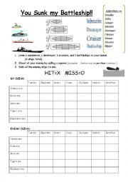 English Worksheet: comparative battleship game