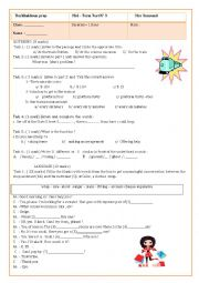 English Worksheet: 8th form mid -term test for Tunisian pupils