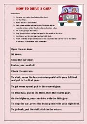 English Worksheet: How to drive a car