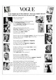 English Worksheet: VOGUE by Madonna