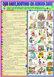 English worksheet: Daily routines on School days