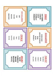 English Worksheet: A2-TABOO CARDS-1..1st worksheet