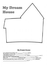 English worksheets my dream house for My dream house drawing