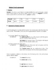 English Worksheet: Subject/Verb agreement