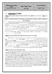 English Worksheet: mid term test 3