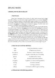 English Worksheet: Bruno Mars -  When I was your man