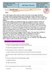 English Worksheet: Full Term Test n3 9th Forms 2013-2014