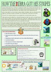 English Worksheet: HOW THE ZEBRA GOT HIS STRIPES
