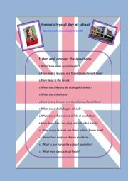 English Worksheet: Listening activity : Hanna´s typical day at school, link to audio file and script included.