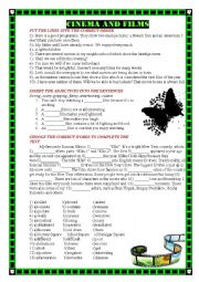English Worksheet: CINEMA AND FILMS