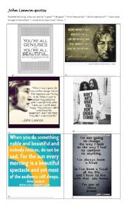 English Worksheet: John Lennon Quotes