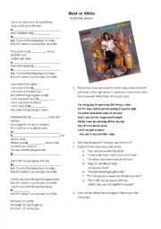 English Worksheet: Black or White by Michael Jackson