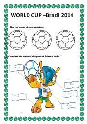 English Worksheet: WORLD CUP - BRAZIL 2014