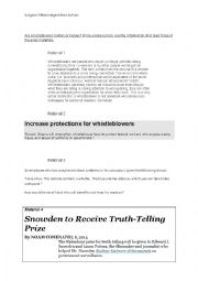 English Worksheet: Are Whistleblowers Traitors Or Heroes?