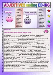 English Worksheet: Verbs used as adjectives (-ed & -ing)