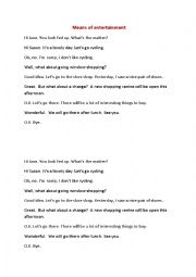 English Worksheet: Means of entertainment (conversation) 9th form