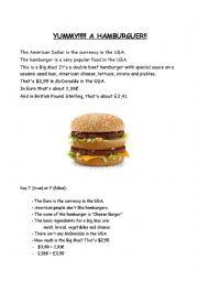 English Worksheet: yummy! a hamburguer!
