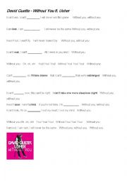 English Worksheet: Without You  by Usher ft. David Guetta