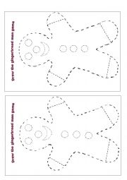 English Worksheet: Draw the Gingerbread Man Body Game
