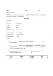 English Worksheet: Imperative verbs for cooking (Cloze Passage)