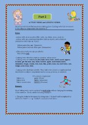Grammar: Action and linking verbs (rules and activities) part 2