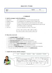 English Worksheet: Mass Media - Test