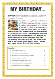 English Worksheet: Birthday paired dictation