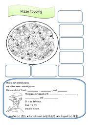 English Worksheet: pizza topping