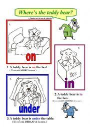 English Worksheet: where�s the teddy bear?