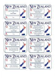 English Worksheet: New Zealand True False Quiz Cards