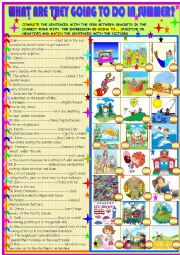 English Worksheet: What are they going to do in summer?BE going to