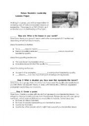 English Worksheet: Nelson Mandela�s Leadership Lessons