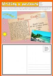 English Worksheet: Writing - A postcard (Holiday)