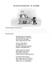 English Worksheet: Poem My teacher ate my homework
