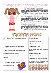 English Worksheet: Things I love about Summer