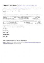 English Worksheet: EARTH DAY 2014 - GREENER CITIES - WATCH THE VIDEO