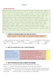 English Worksheet: Review 9th Forms National Exam Module 1 & 2