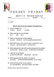 Freaky Friday Worksheet