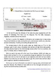 English Worksheet: Influence of Media on society