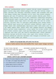 English Worksheet: Review Module  3 & 4 9th forms