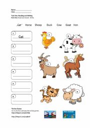 English Worksheet: Farm Animals Reading and Writing