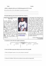 English Worksheet: Space and life on other planets